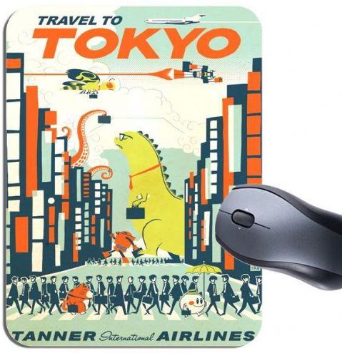 Vintage Tokyo Travel Poster Mouse Mat. Tanner Airlines Monster Tourism Mouse Pad
